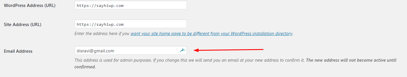 Change WordPress admin email address