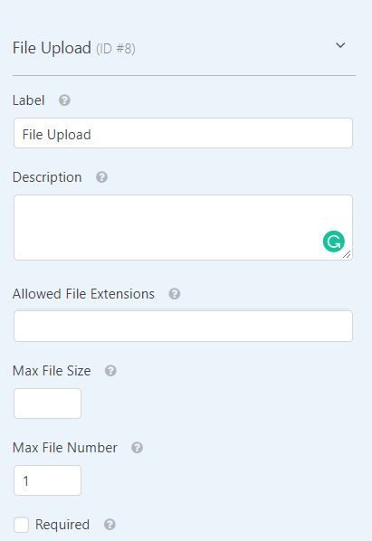 File Upload Form Settings