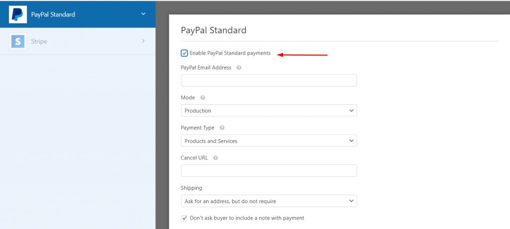 Paypal Standard Settings