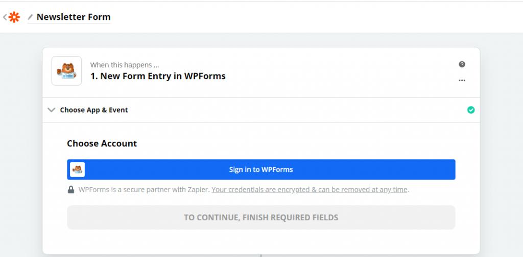 Choose a WPForms account