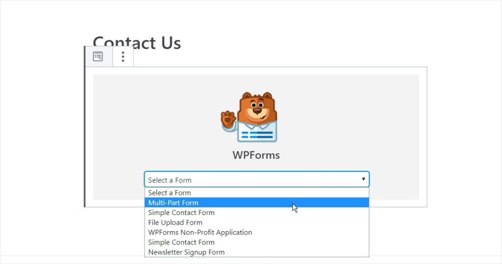 Once the WPForms widget added to your page, choose the form you want to show.