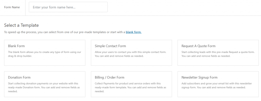select a template WPforms